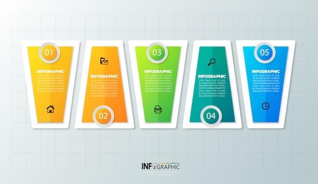 Szablon infographic 5 opcji