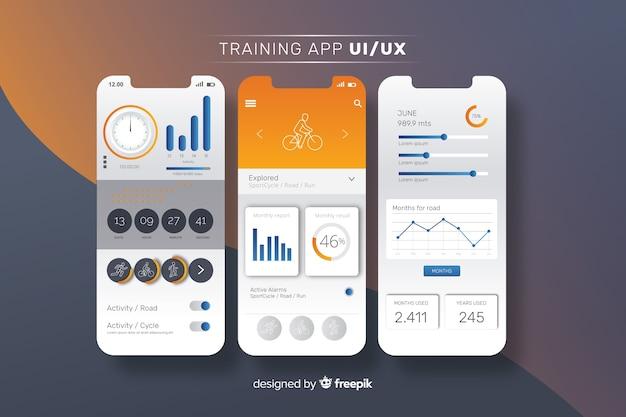 Szablon infographic aplikacji mobilnej fitness