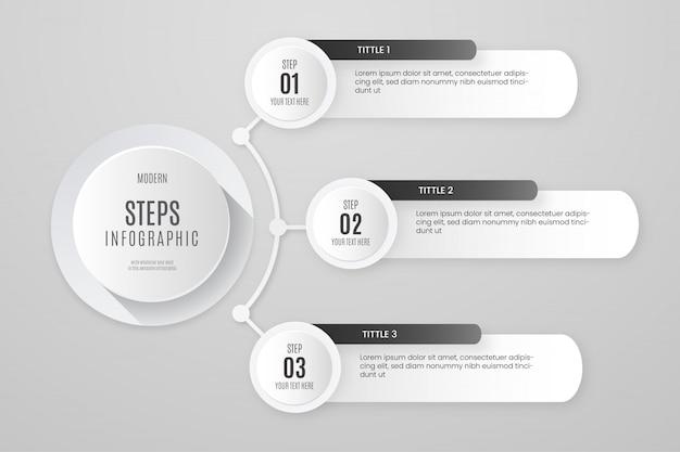 Szablon infographic białe kroki