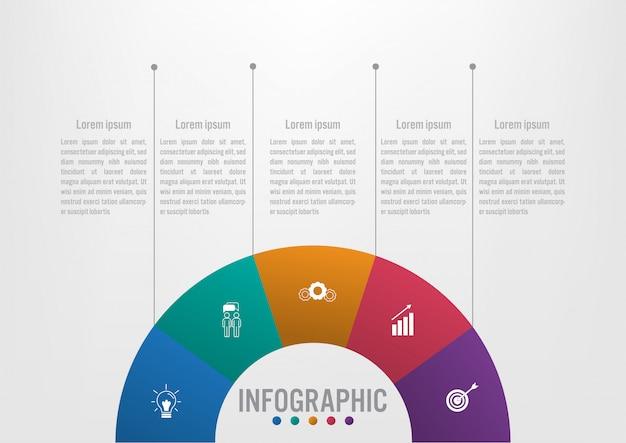 Szablon infographic biznesu z 5 opcjami