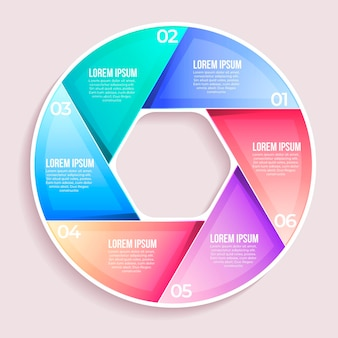 Szablon infographic diagramu kołowego gradientu