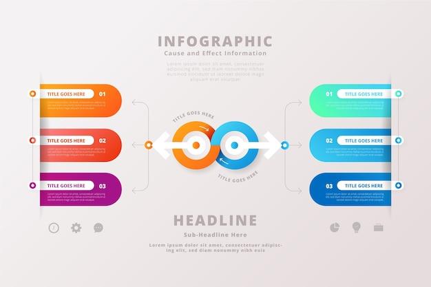 Szablon infographic infographic przyczyna i efekt gradientu