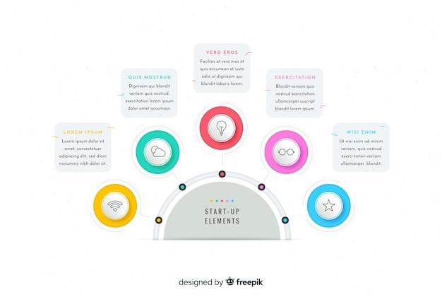 Szablon infographic kolorowe kroki