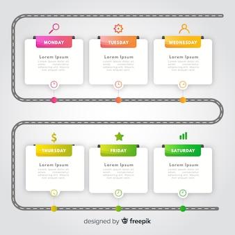Szablon infographic kolorowe osi czasu gradientu