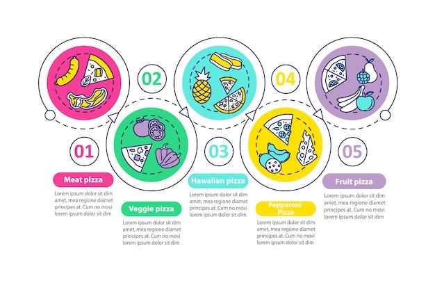 Szablon infographic najlepszych rodzajów pizzy