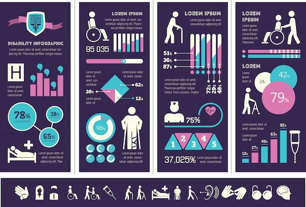 Szablon infographic niepełnosprawności.