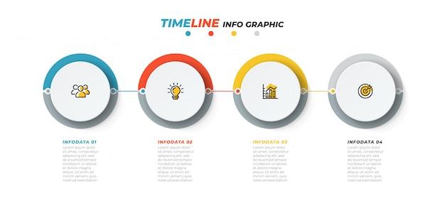 Szablon infographic osi czasu. biznesowy pojęcie z marketingowymi ikonami i 4 krokami, opcja. ilustracji wektorowych.