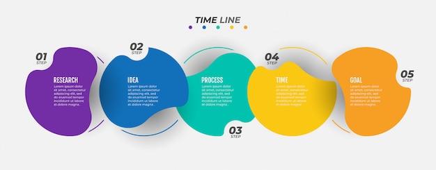 Szablon infographic osi czasu dla kroków procesu biznesowego