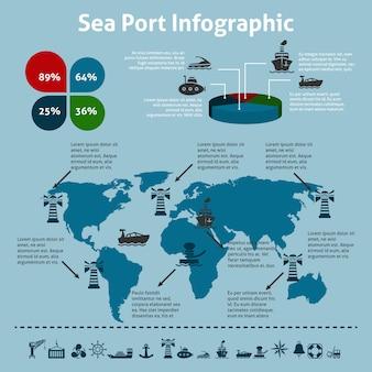 Szablon infographic port morski