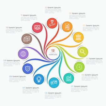 Szablon infographic styl wirować z 12 opcjami.