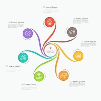 Szablon infographic styl wirować z 7 opcjami
