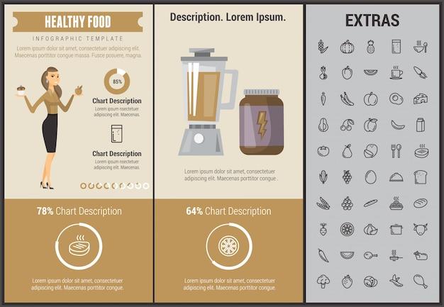 Szablon infographic zdrowej żywności, elementy, ikony