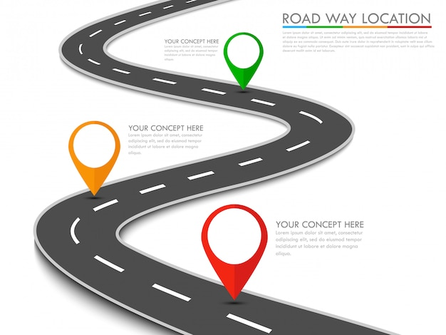 Szablon informacji graficznej o lokalizacji drogi ze wskaźnikiem pin