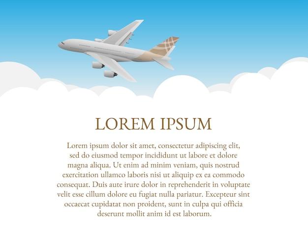 Szablon informacyjny dla lotnictwa ze zdjęciem samolotu na białej chmurze