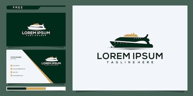 Szablon inspiracji logo jachtu wycieczkowego. zaprojektuj logo i wizytówkę