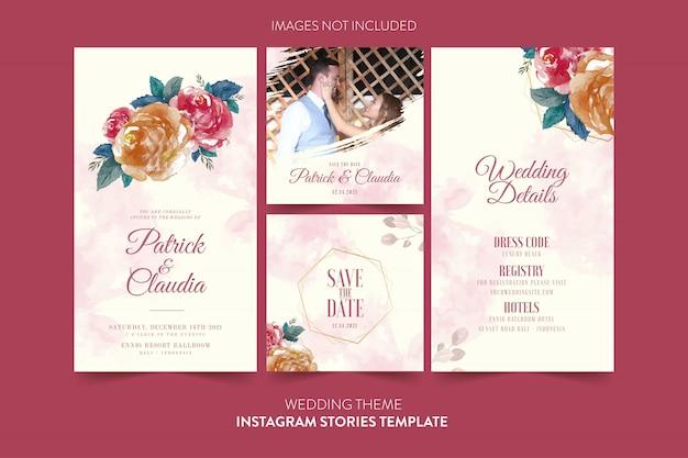 Szablon instagram dla zaproszenia ślubne z akwarela kwiat i liści