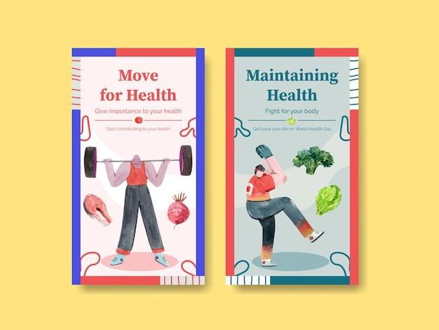 Szablon instagram na światowy dzień zdrowia w stylu przypominającym akwarele