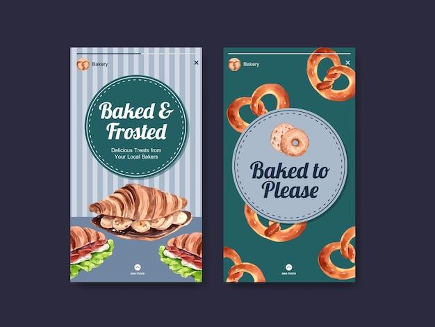 Szablon instagram z akwarelą ilustracji piekarni