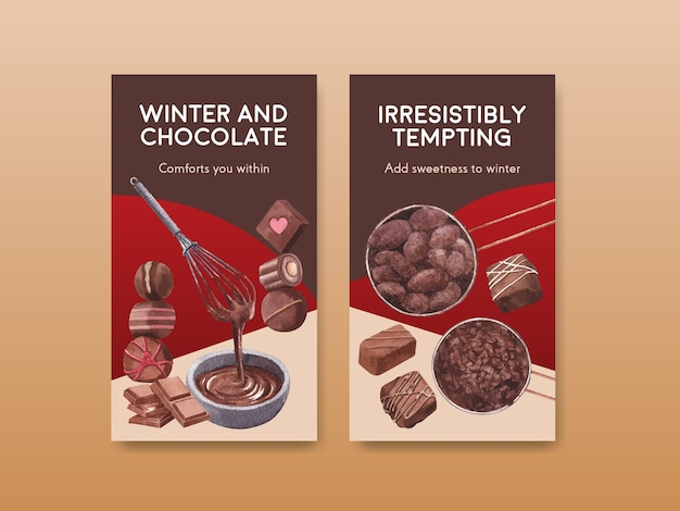 Szablon instagram z czekoladowym zimowym projektem koncepcyjnym dla marketingu internetowego i ilustracji wektorowych akwarela w mediach społecznościowych