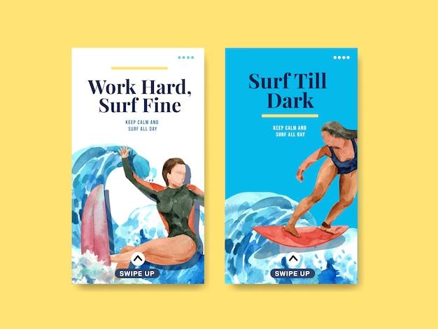 Szablon instagram z deskami surfingowymi na plaży