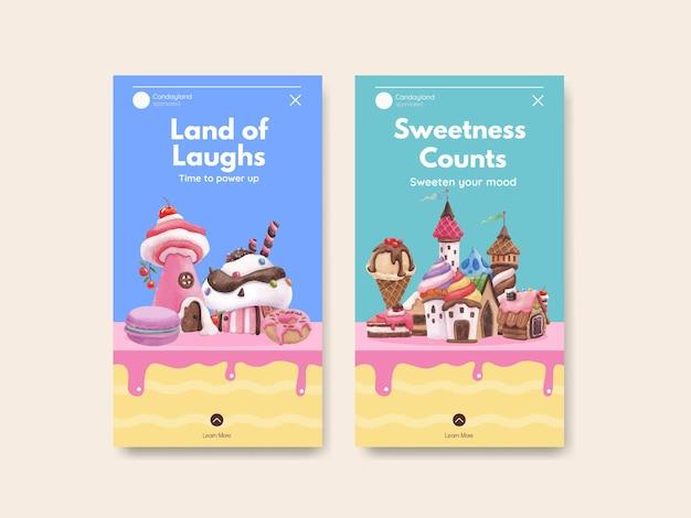 Szablon instagram z ilustracją akwareli projektu candy land