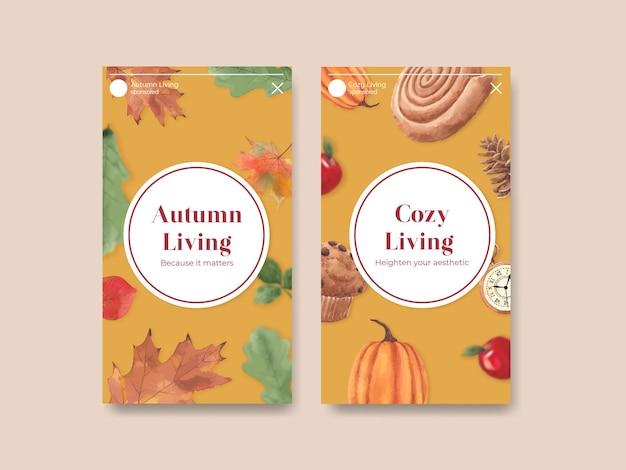 Szablon instagram z jesienną przytulną koncepcją domu, w stylu akwareli