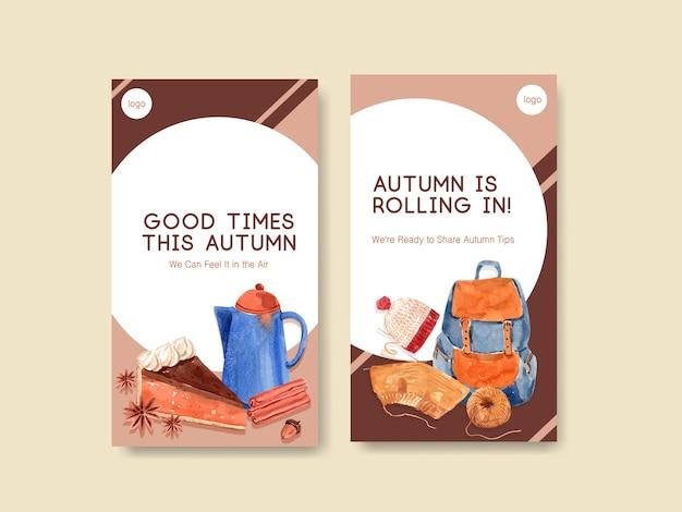 Szablon instagram z jesiennym codziennym projektem koncepcyjnym marketingu cyfrowego i akwareli mediów społecznościowych