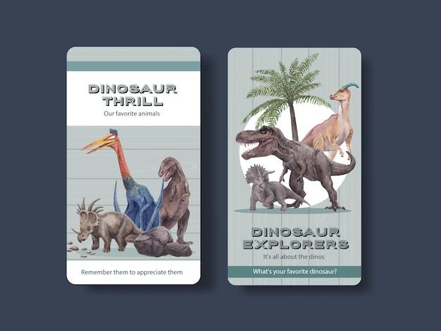 Szablon instagram z koncepcją dinozaura, styl przypominający akwarele