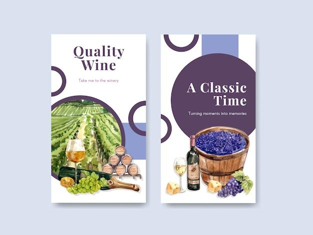 Szablon instagram z koncepcją farmy wina dla ilustracji akwarela w mediach społecznościowych.