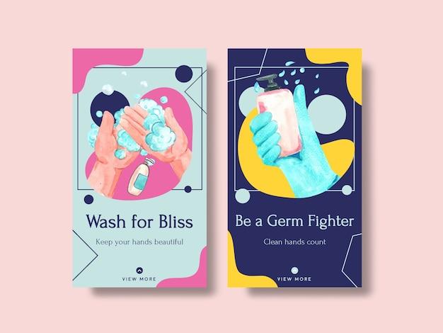 Szablon instagram z koncepcją globalnego dnia mycia rąk