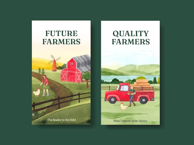 Szablon instagram z koncepcją krajowego dnia rolników, styl akwareli