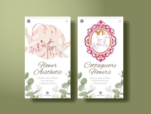 Szablon instagram z koncepcją kwiatów cottagecore, styl akwareli