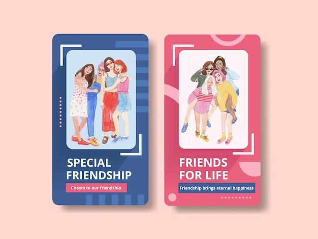 Szablon instagram z koncepcją narodowego dnia przyjaźni, styl akwareli