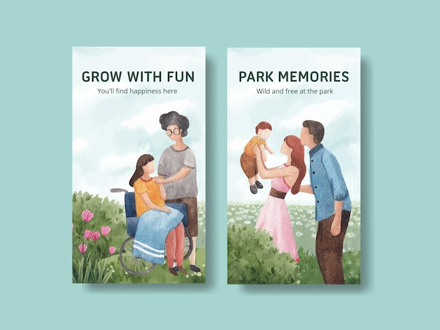 Szablon instagram z koncepcją parku i rodziny dla ilustracji akwarela w mediach społecznościowych