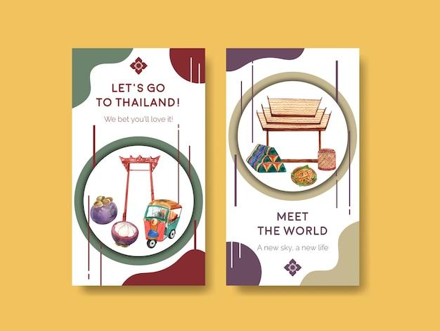 Szablon instagram z koncepcją podróży do tajlandii dla mediów społecznościowych w stylu przypominającym akwarele