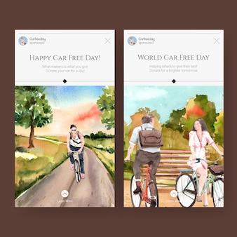Szablon instagram z koncepcją światowego dnia bez samochodu dla mediów społecznościowych i akwareli w internecie.