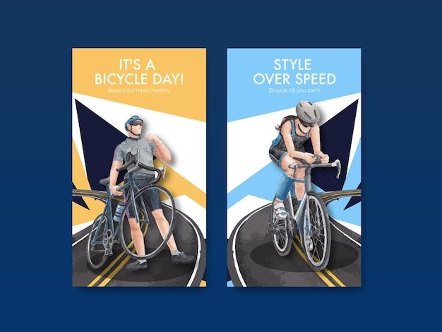 Szablon instagram z koncepcją światowego dnia roweru, styl akwareli