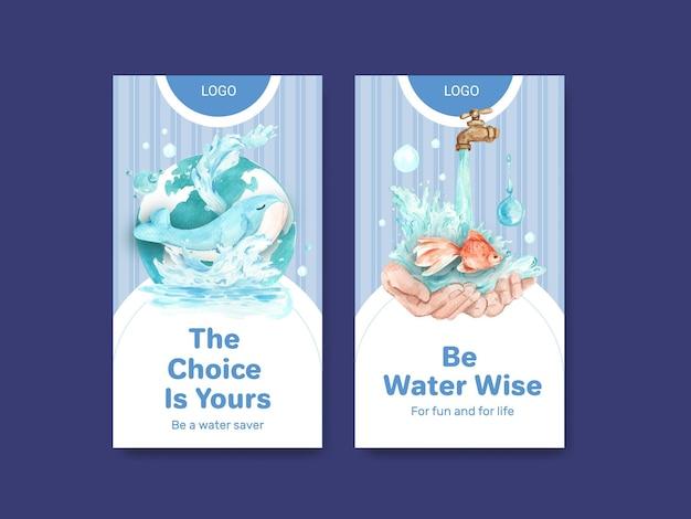 Szablon instagram z koncepcją światowego dnia wody dla ilustracji akwarela w mediach społecznościowych