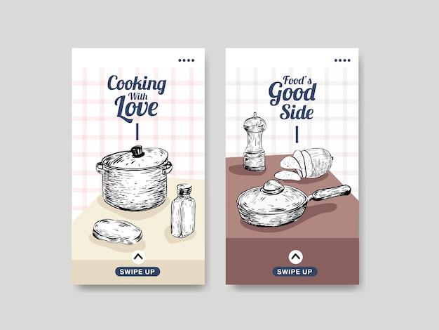 Szablon instagram z koncepcją urządzeń kuchennych dla ilustracji wektorowych mediów społecznościowych