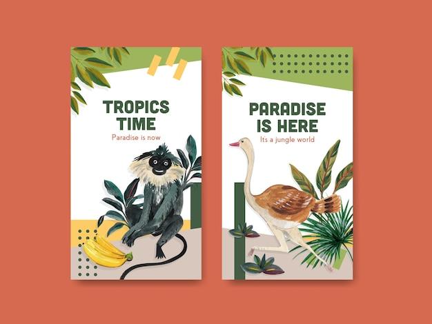Szablon instagram z tropikalnym współczesnym projektem koncepcyjnym dla mediów społecznościowych i społeczności online