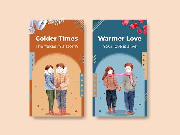 Szablon instagram z zimową miłością do mediów społecznościowych i ilustracji wektorowych akwarela w internecie