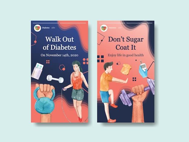 Szablon instagram ze światowym dniem cukrzycy dla mediów społecznościowych i akwareli marketingu online
