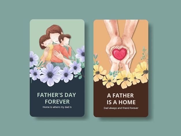 Szablon instagramu z koncepcją na dzień ojca w stylu przypominającym akwarele