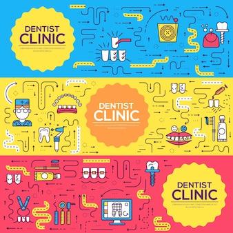 Szablon instrumentów dentystycznych ulotek, czasopism, plakatów, książek, banerów. zarys zaproszenia medyczne.