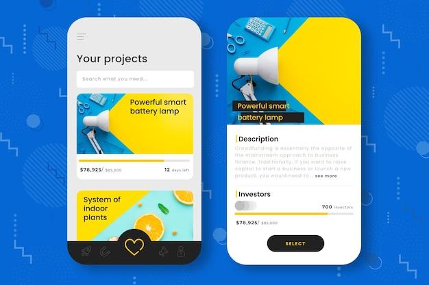 Szablon interfejsu aplikacji do finansowania społecznościowego