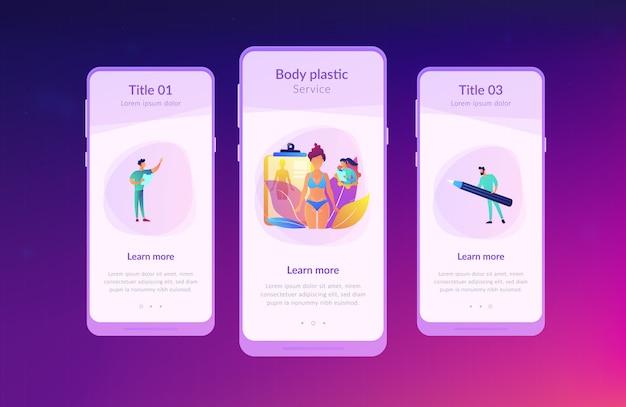 Szablon interfejsu aplikacji do konturowania ciała.