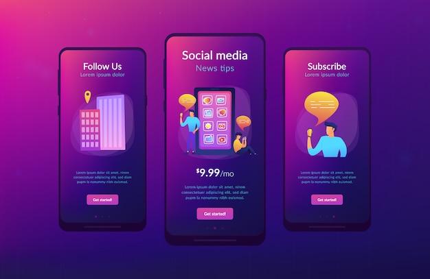Szablon interfejsu aplikacji do mediów społecznościowych i wskazówek.