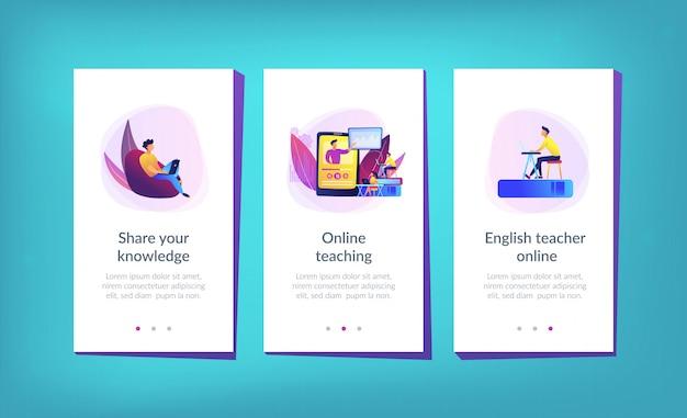 Szablon interfejsu aplikacji do nauczania online.