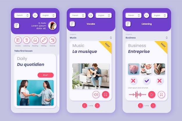 Szablon interfejsu aplikacji do nauki języków