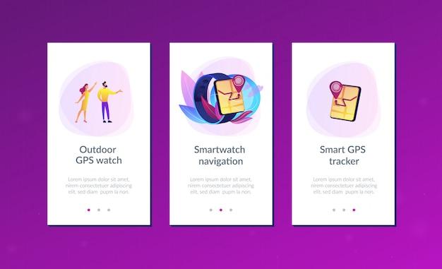 Szablon interfejsu aplikacji do nawigacji smartwatch.